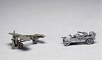 Aircraft and military vehicle, Penny Toys, hand-painted grey lead and antimony toys, made by Rivollet and Simon cast metal toys, 1916. France, 20th ce...