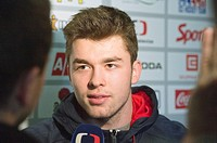 Czech Republic player Vladimir Roth answers questions during press conference at meeting of Czech national ice hockey team, in Prague, Czech Republic,...