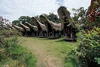 Silos for storing rice in the village of Nanggala, inhabited by the Toraja people, island of Sulawesi, Indonesia.