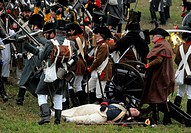 History enthusiasts in regimental costumes take part in the reconstruction of the famous Battle of Austerlitz, also known as the Battle of the Three E...