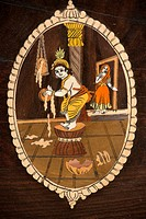 painting of child Krishna stealing butter Surajkund mela Faridabad Haryana India Asia