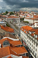 View on the old town of Lisbon with Praca Dom Pedro IV aka Rossio, Baixa, Portugal, Europe.