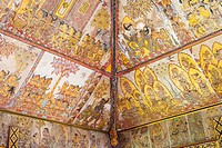 Traditional Kamasan paintings, Kertha Gosa pavilion (former Hall of Justice) in Puri Semarapura Palace, Klungkung, Bali, Indonesia, Southeast Asia, As...