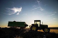 Tractor silhouette contains the harvest of organic almond. Monegros. Perdiguera. Aragón, Spain