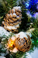 Close Up Of A Snow Covered Pine Cones On A Christmas Wreath During Winter