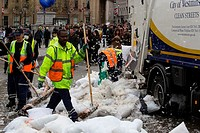 Cleanup after the International Pillow Fight 2014 in Trafalgar Square Featuring: Clean up after the International Pillow Fight 2014 in Trafalgar Squar...