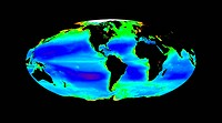 Global chlorophyll levels, 1997-2003. Global satellite map showing average chlorophyll levels in the Earth's oceans during the period from 1997 to 200...