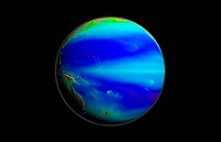 Pacific phytoplankton levels, 1997-2007. Globe map using satellite data, showing average chlorophyll levels across the Pacific Ocean during the period...