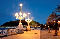 lanterns lit at dawn on Paseo de la concha, san sebastian, Basque Country, guipuzcoa, Spain