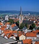 D-Hansestadt Korbach, West Hesse Highlands, Hessian Highlands, Sauerland, Hesse, city panorama, new city, evangelic Saint Nikolai Church, Middle Ages,...