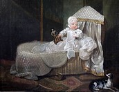 Gerard Anne Edwards in his cradle by William Hogarth (1697-1764), painting at Upton House, Warwickshire, England.