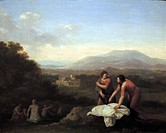 Painting called Women Bathing 1702. Classical landscape. Johan Van Haensbergen