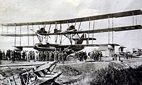 World War 1 - Front view of a British triplane flying-boat, showing its wingspan of 123 feet.