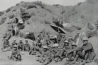 French soldiers rest before going into battle, during world war one 1917