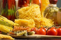 pasta on a wooden table, still life