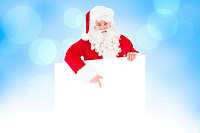 Composite image of happy santa claus presenting sign
