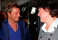 Oliver Geissen, Anke Schaeferkordt at VPRT-Sommerfest (summer party) - 30 years private broadcasting in Germany (30 Jahre privater Rundfunk) at Cafe M...