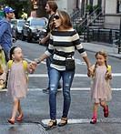 Sarah Jessica Parker takes twin daughters, Marion and Tabitha, to school Featuring: Sarah Jessica Parker,Marion Broderick,Tabitha Broderick Where: Man...