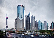 The Oriental Pearl Tower and modern buildings in Lujiazui, Pudong, Shanghai, China 2014.