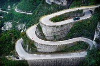 Serpentine road, Tianmen Mountain National Park, Zhangjiajie, Hunan, China