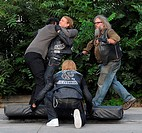 Charlie Hunnam films an action scene where he is involved in a fight while filming \Sons Of Anarchy\. Co-star Jimmy Smits is also on the set. Featurin...