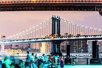 Skyline view of Manhattan Bridge from Brooklyn Bridge Park, Lower Manhattan, New York City, USA.