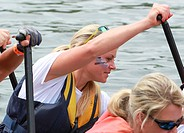 Olympic Skier Chemmy Alcott and her husband Dougie Crawford take part in a Dragon boat race. Featuring: Chemmy Alcott Where: London, United Kingdom Wh...