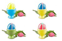 Colored Easter eggs with pink tulip as collage