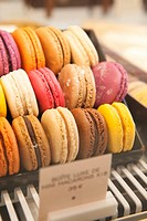 Close-up of macarons at Angelina, Rivoli Street, Rue de Rivoli, Paris, France, Europe.