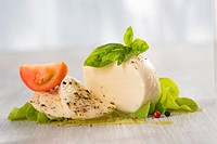 Mozzarella with basil and tomato