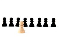 chess man showing individuality isolated on white background