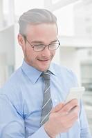 Cheerful businessman text messaging