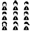 illustration of different human icons on white background