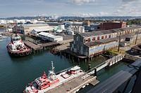 Tacoma tideflats industrial area from the Murray Morgan Bridge - New Tacoma, Tacoma, Pierce County, Washington, USA. The bridge connects downtown with...