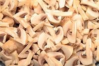 Fresh sliced Mushrooms Champignons closeup backdrop