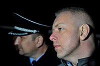 Czech Police President Tomas Tuhy (left) and Czech Interior Minister Milan Chovanec speak to journalists in Uhersky Brod, East of the Czech Republic, ...