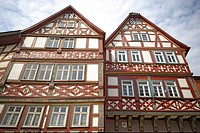 Half-timber houses along the main street in Bad Orb, Spessart, Hesse, Germany