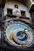 Mechanical figures perform on the hour, Astronomical Clock, Old Town, Prague, Czech Republic.