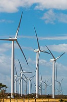 A group of 30 wind turbines by Lake Nicaragua, Nicaragua's first such facility name Amayo) with Concepcion Volcano beyond, Rivas, Nicaragua, Central A...