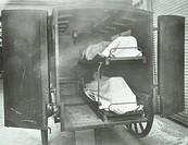 Interior of a horse drawn Metropolitan Asylums Board ambulance, London, 1939. Artist: Unknown.