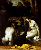 CORNELISZ: BATHSHEBA. 'The Toilet of Bathsheba.' Oil on canvas, Cornelis Cornelisz. van Haarlem, 1594.