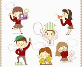a set of student doing daily activities