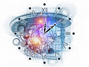 Backdrop on the subject of scheduling, temporal and time related processes, deadlines, progress, past, present and future composed of gears, clock ele...