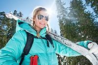 USA, Utah, Young woman skier on mountain
