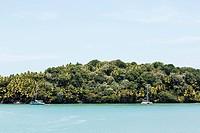 South America, French Guiana, Ile du Salut. View of Ile Royale and Ile St. Joseph.