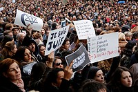 France, Ile-de-France, Paris, demonstration by 1,6 millions people on january 11 th, 2015 after the murder of 17 people including journalistes and art...