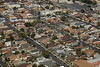 California, South Los Angeles, suburbia, Aerial view.