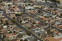 California, South Los Angeles, suburbia, Aerial view.
