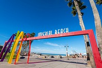 Imperial Beach Sign at the Imperial Beach Pier Plaza, California, United States.
