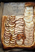Simple Homemade Pear Tart - slices on Pastry.